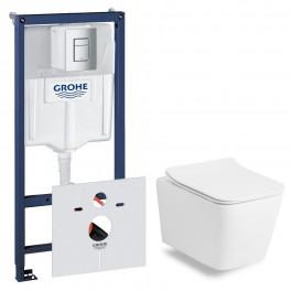Комплект:Volle LIBRA RIM унитаз подвесной, сиденье SLIM+ инсталляция Grohe Rapid SL 38772001